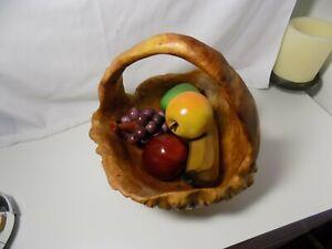 Vintage San Mu Tree Burl Root Basket with Bonus 5 pc handmade wood stained fruit