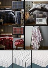 100% Brushed Cotton Tartan Quilt Duvet Cover & Pillowcase or Fitted Sheet New