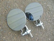 (x2) 4 inch round MIRROR for HANDLE BARS motorcycle, scooter, bar mounted swivel