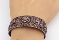 925 Sterling Silver - Vintage Oxidized Sculpted Pattern Cuff Bracelet - B8372
