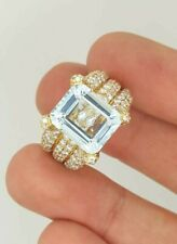 ESTATE 18K YELLOW GOLD DIAMOND & BLUE AQUAMARINE GEMSTONE COCKTAIL CLUSTER RING
