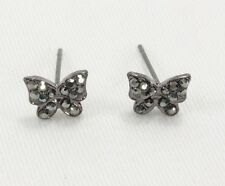"Crystal butterfly post stud pierced earrings hematite 3/8"" small garden nature"