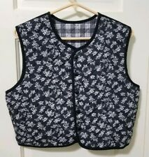 Vintage Quilted Vest One Size L Large Black & White Reversible Plaid Floral Euc