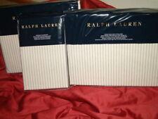 RALPH LAUREN HOXTON STRIPE CREAM GREY  4 PC QUEEN SHEET SET  PILLOWCASES