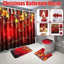 4 Pcs Christmas Bathroom Shower Curtain Pedestal Rug Lid Toilet Cover Bath Mat