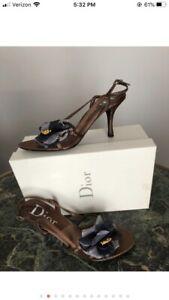 DIOR brown silk floral high heel sandals, Sz.8 1/2, New W/box