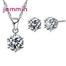 Sweet Candy Colors CZ Crystal Pendant Necklace Stud Earring Women Jewelry Sets