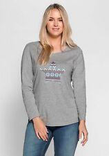 Sheego Casual Ladies Long Sleeve Print Shirt Grey New 44/46
