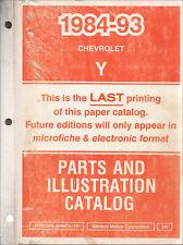 1993 Corvette Maestro Partes Libro Chevrolet Illustrated Parte Catalog Chevy