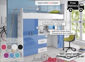 MODERN CABIN LOFT BED HIGH SLEEPER BOY GIRL BUNK BED SET STORAGE KIDS YOUTH