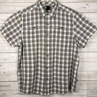 The North Face Button Front Short Sleeve Shirt Tekware Mens XXL Brown Gray Plaid