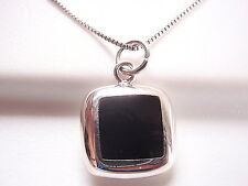 Reversible Black Onyx and Mother of Pearl 925 Sterling Silver Square Pendant
