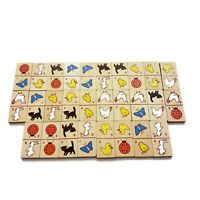 Vintage 1984 Colorful Wooden Farm Animal Dominoes 28 Piece Set Classic Game F/S