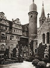 1924 Vintage GERMANY Merseburg Castle Cathedral Courtyard Photo Art By HIELSCHER