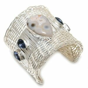 Aqua Nevada, Iolite Gemstone Handmade 925 Silver Cuff Bracelet Adjustable