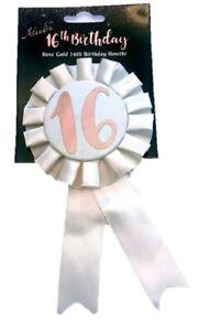 Sweet 16th Birthday Metallic Rose Gold & Ivory Rosette Party Badge Ribbon B-Day
