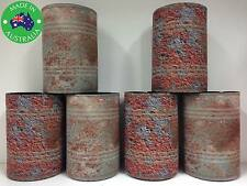 6x RUSTY CANS Designer Beer Can Stubby Holder Stubbie Cooler Koozie with base