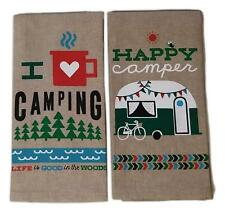 I HEART CAMPING & HAPPY CAMPER Set of 2 Kitchen Tea Towels by Kay Dee