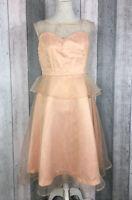 Lindy Bop Pink Mesh Overlay Peplum A-Line Floaty Dress Size UK 14 BNWT