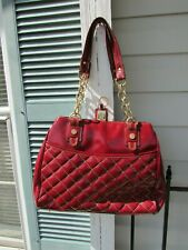 Maxx New York Signature Purse Burgundy Quilted PVC Shoulder Bag EUC