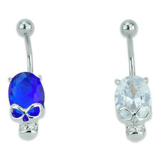 Silver Skull Gem Belly Navel Ring Banana Barbell Stainless Steel