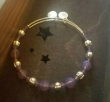 Alex & Ani Purple Swarovski Beaded Bead Crystal Silver Bangle Bracelet