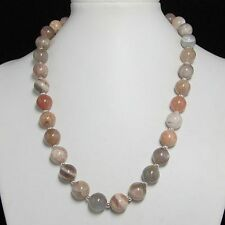 Schön kette Halskette 50cm aus natur Mondstein 12mm u 925 Silber