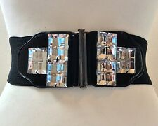 WIDE ELASTICATED BLACK WAIST BELT / SILVER METAL & BIG CRYSTAL BUCKLE / 28