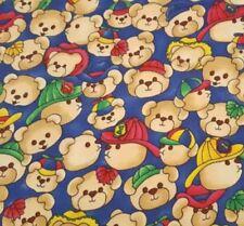 2.5 Yds Teddy Bear Hats Print Blue South Sea Imports Cotton Corduroy Fabric New