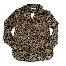 Hem & Thread Women's Large L Olive Green Cheetah Animal Print Blouse