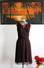 Tadashi Red Black Polka Dot Silk Chiffon Dress Sz 16