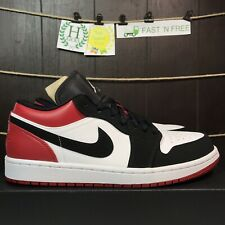 online store ea414 7f5e0 Nike Jordan 1 Baja Puntera Negra Air Blanco Negro Gimnasio Rojo Talla 8  Bred 553558 116