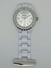 Enfermera Fob Watch por Henley Plata Y Blanco Diamante Bisel HF01.4
