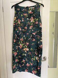 Ladies Green Floral George Dress Size 20