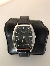Kenneth Cole KC1614 Men's Tonneau Watch Barrel Shaped Black Leather Strap