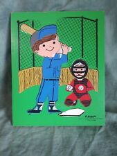 Vintage PLAYSKOOL LITTLE LEAGUER BASEBALL BOY Wooden PUZZLE Wood 16pc¤