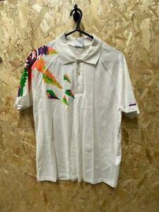 Diadora Jim Courier Retro Polo Shirt White and Multi Graphic Size Medium 38''
