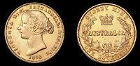1870 Australia Sydney Mint Queen Victoria Gold Sovereign KM. #4 VF Coin