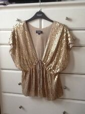 Warehouse Spotlight Gold Sequin Kaftan Top Jacket Size S