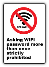 "Asking Wi Fi Password Ban Stop Sign Funny Humor Car Bumper Sticker Decal 3"" x 5"""