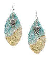 Sealife Theme Glittering Earring Turtle Drop Dangle Glitter Ocean Sand Colors