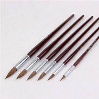 Kolinsky Round Point Tip Paint Brush Set Sable Hair + Nylon Artist Quality 6PCs
