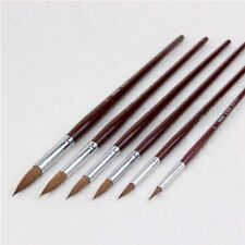 Round Point Tip Paint Brush Set Sable Hair + Nylon Artist Quality 6PCs
