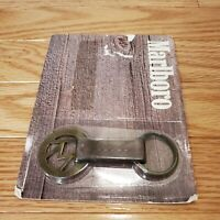 VINTAGE MARLBORO brand solid brass & leather keychain1989 NEW