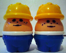 Vintage LITTLE TIKES Chunky Figure CONSTRUCTION WORKER *2-Piece Lot* Blue/Yellow