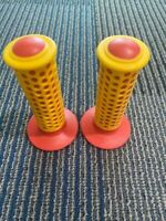 * NOS VINTAGE OLD SCHOOL BMX FREESTYLE  FUAN  F1 GRIPS RED YELLOW NEVER USED HOT