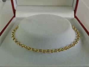 9ct Gold Solid Link Diamond Cut Belcher Chain. 24 inch. Hallmarked. 6.4 grammes.