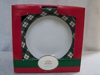 Holly Plaid Red Green Stoneware Soup Bowls Set of 4