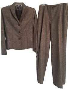 ANN TAYLOR Brown Wool Tweed 2 Piece Pants Suit - Size 6