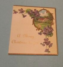 1910 Era A Merry Christmas To Jou Unused Holiday Greeting Card Violets Nature